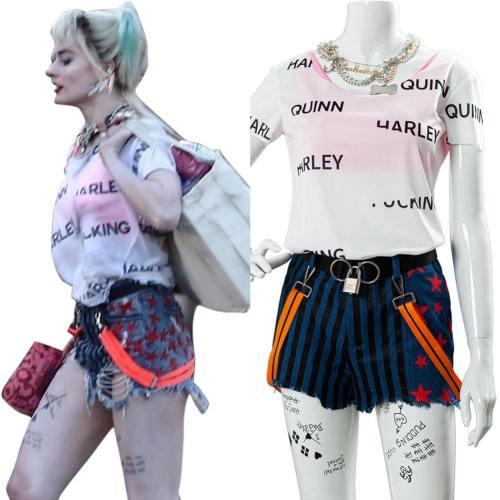 2020 Birds of Prey Harley Quinn T-Shirt Hose Cosplay Kostüm