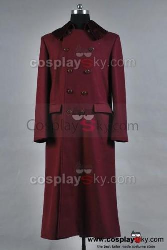 Doctor Who 4th Doctor Plum Red Long Trench Wollmantel Kostüm