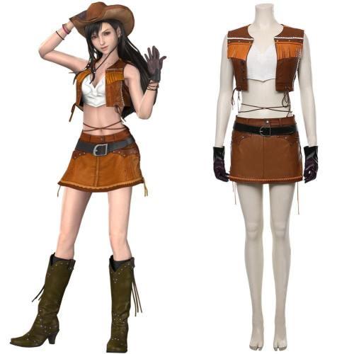 FF7 Remake Final Fantasy VII Remake Tifa Lockhart Cosplay Kostüm Der Cowboy Kostüm Halloween Karneval Kostüm