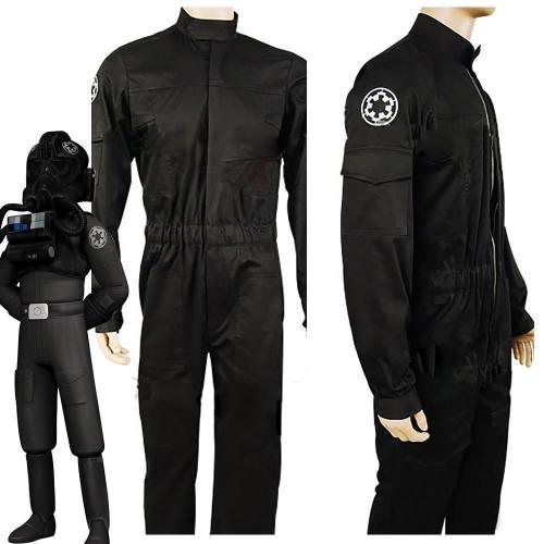 Star Wars Imperial Tie Fighter Pilot Fliegerbekleidung Uniform Jumpsuit Schwarz