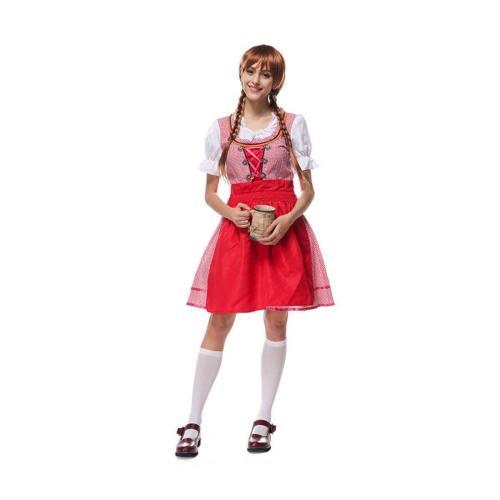 Oktoberfest Dirndl Damen Trachtenkleid mit Schürze Cosplay Kostüm