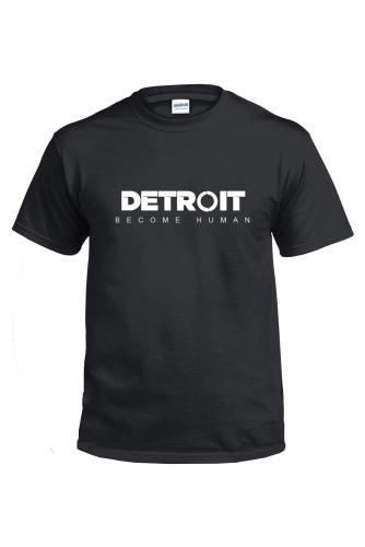 Detroit: Become Human Logo T-Shirt Tee Kurzarm Baumwollshirt Top Schwarz O-Neck Herren