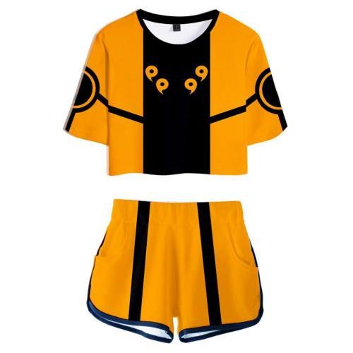 Naruto Uzumaki webliche T-Shirt Shots Set Sommer T-Shirts Damen Oberteil Kurzarm Version C