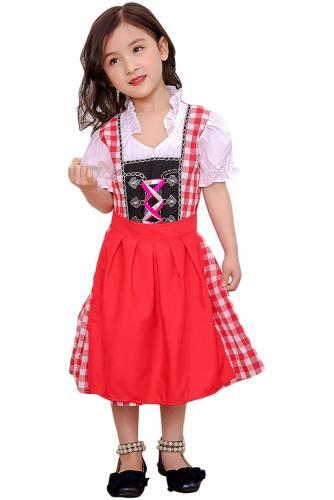 Oktoberfest Dirndl Damen Trachtenkleid Cosplay Kostüm für Kinder