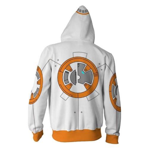 Star Wars 9  The Rise of Skywalker Trooper BB8 Hoodie Pullover mit Kaputze Jacke mit Reißverschluss Erwachsene 3D Druck