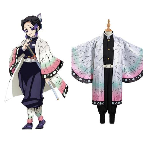 Kinder Mädchen Demon Slayer Kimetsu no Yaiba Kochou Shinobu Cosplay Kostüm Halloween Karneval Kostüm Set