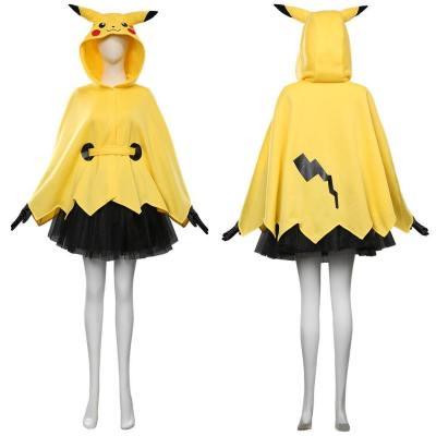 Pokemon Pikachu Kostüm Hooded Umhang mit Tutu Rock Halloween Karneval Kostüm