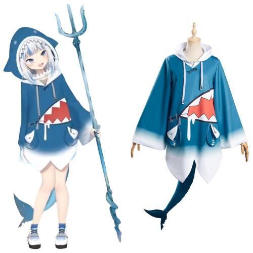 Bilicos Gawr Gura Top Outfits Vtuber Halloween Karneval Cosplay Kostüm