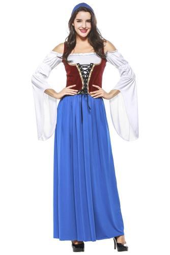 Oktoberfest Dirndl Damen Trachtenkleid mit Schürze Cosplay Kostüm 2 Version