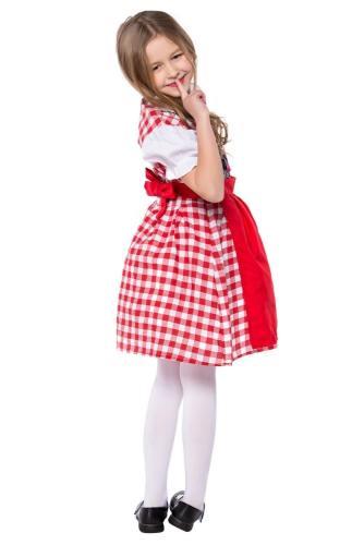 Oktoberfest Dirndl Trachtenkleid mit Schürze Cosplay Kostüm für Mädchen Kinder Rot