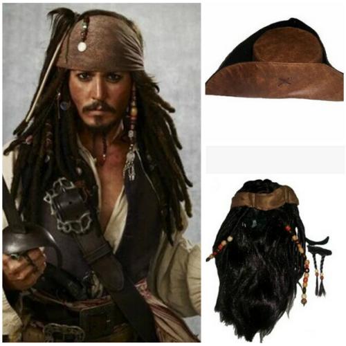 Pirates of the Caribbean Fluch der Karibik Jack Sparrow Johnny Depp Perücke Cosplay Perücke Hut