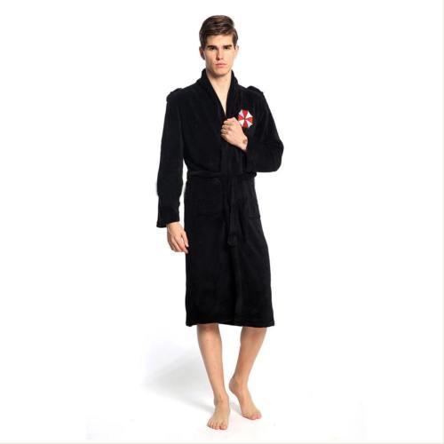 Resident Evil Umbrella Corporation Robe Bathrobe Bademantel Schwarz für Erwachsene Herren Männer Kostüm Gr. M/L