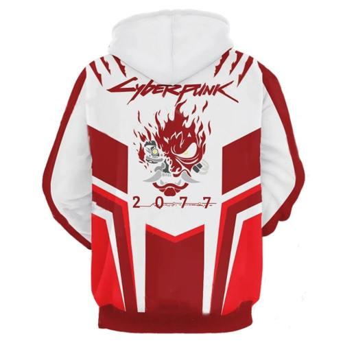 Cyberpunk 2077 Samurai Top Hoodie Pullover mit Kaputze Sweatshirt Erwachsene 3D Druck Rot Version
