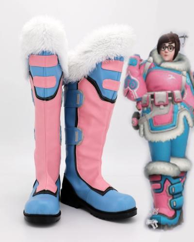 Mei-Ling Zhou Overwatch Stiefel Cosplay Schuhe Rosa