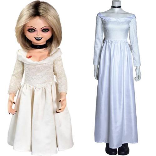 Chucky und seine Braut Bride of Chucky Tiffany weiß Kleid Cosplay Halloween Karneval Kostüm