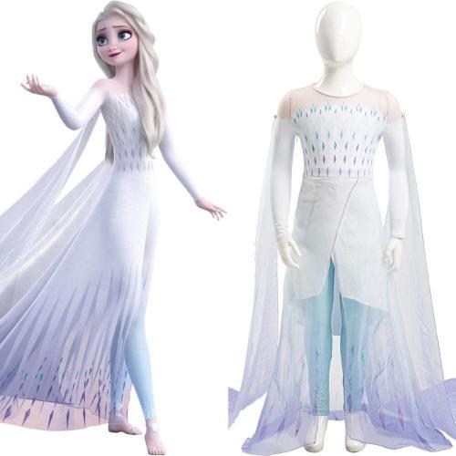 Die Eiskönigin 2 Frozen 2 Elsa Kinder Ver Ahtohallan weiße Kleid für Mädchen Cosplay Kostüm