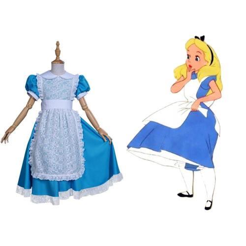 Alice im Wunderland Alice Kleid für Kinder Mädchen Kleid Cosplay Halloween Karneval Kostüm