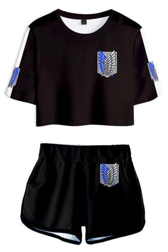 Attack on Titan Shingeki no Kyojin Scouting Legion Sommer T-Shirts Damen Oberteil Kurzarm