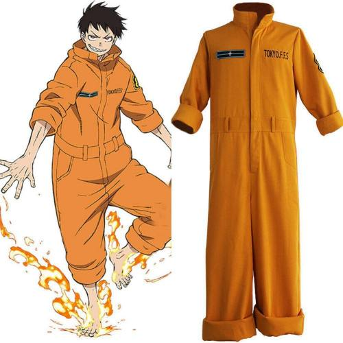 Fire Force Shinra Kusakabe Feuerwehr Jumpsuit Cosplay Kostüm Damen