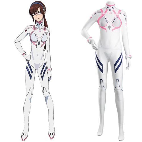 Evangelion 4.0 Final Pilotin Mari Makinami Illustrious Cosplay Kostüm weiß Jumpsuit Halloween Karneval Kostüm