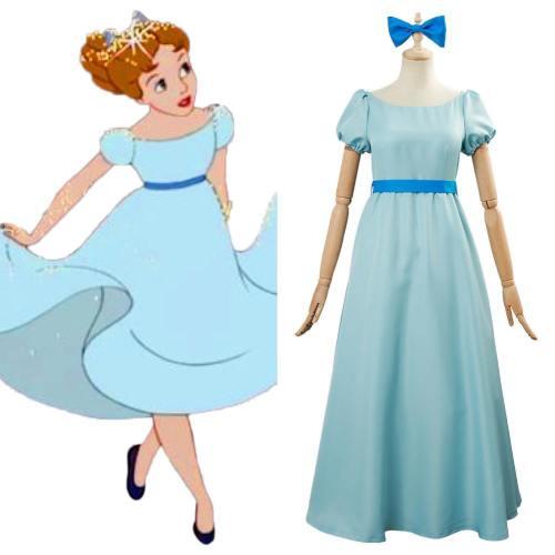 Nimmerland Peter Pan Wendy Kleid Cosplay Kostüm Blau