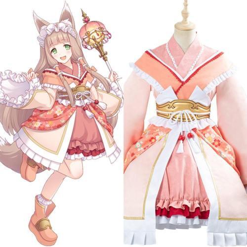 Anime Princess Connect Re:Dive Maho Himemiya Cosplay Kostüm Fox Lolita Kimono Kleid Halloween Karneval