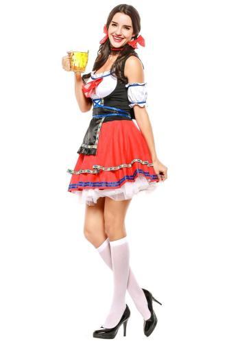 Damen Dirndl Trachtenkleid für Oktoberfest Karneval Kostüm Erwachsene Rot