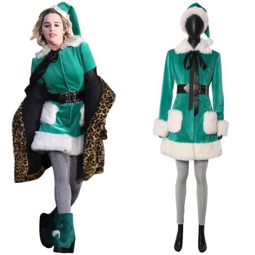 Last Christmas Kate Emilia Clarke Grün Kostüm für Weihnachten Cosplay Kostüm Damen Kostüm