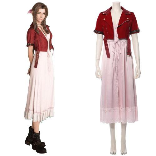 Final Fantasy VII 7 Aerith Aeris Gainsborough Cosplay Kostüm Rosa Kleid