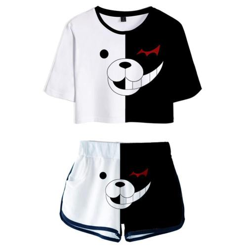 Danganronpa Monokuma Damen T-Shirt Shots Set Sommer T-Shirts Damen Oberteil Kurzarm