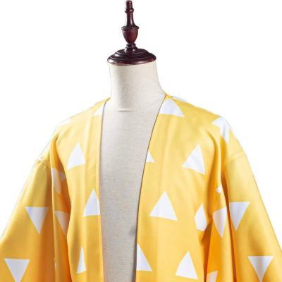 Demon Slayer Kimetsu no Yaiba Agatsuma Zenitsu Cosplay Kostüm Kimono Umhang