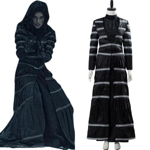 Streifenmantel Kostüm Cosplay Yennefer von Vengerberg The Witcher Hexe