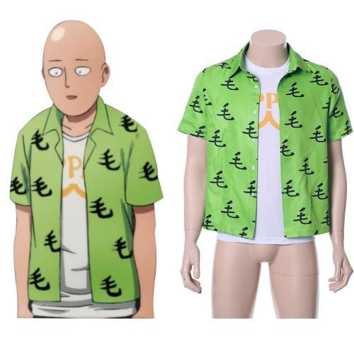 One punch man Saitama Oppai T-Shirt Hemd Kurzarm Tee Top 2 tlg Grün