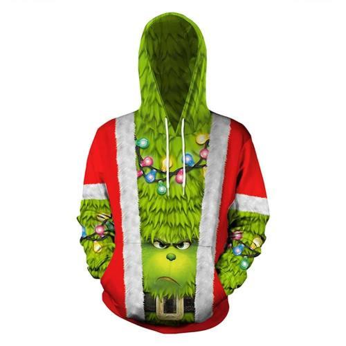 The Grinch Hoodie Der Grinch Erwachsene 3D Druck Hooded Sweatshirt Pullover mit Kaputze für Weihnachten