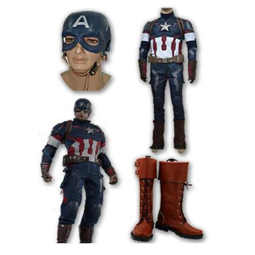 Captain America Steve Rogers Ganz Set Cosplay Kostüm + Stiefel + Kopfbedeckung