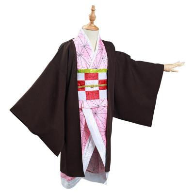 Kimetsu no Yaiba Kamado Nezuko Cosplay Kostüm Kinder Kimono Halloween Karneval Kostüm Set