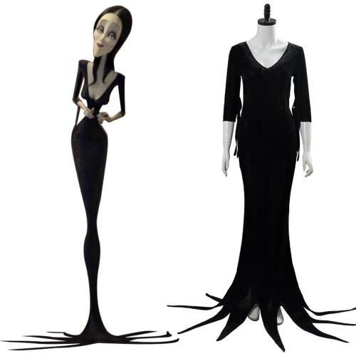 The Addams Family Die Addams Family Morticia Addams Cosplay Kostüm Kleid Schwarz