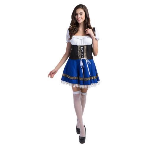 Damen Dirndl Trachtenkleid für Oktoberfest Karneval Kostüm Mottoparty