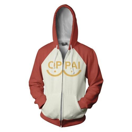One Punch Man Hero Saitama Oppai Logo Kupuzenpulli Jacke mit Reißverschluss Cosplay Kostüm