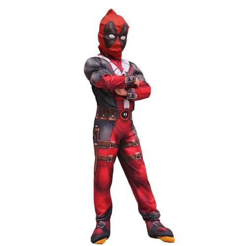 Kinder Marvel Deadpool Jumpsuit Maske Cosplay Kostüm Karneval