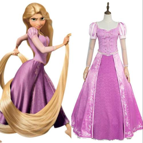 Tangled Prinzessin Rapunzel Kleid Lila Cosplay Kostüm Neu Version