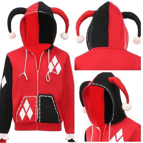 Harley Quinn Cosplay Kostüm Hoodie mit Kaputze Jacke Sweatshirt Halloween Karneval Pulli für Mädchen
