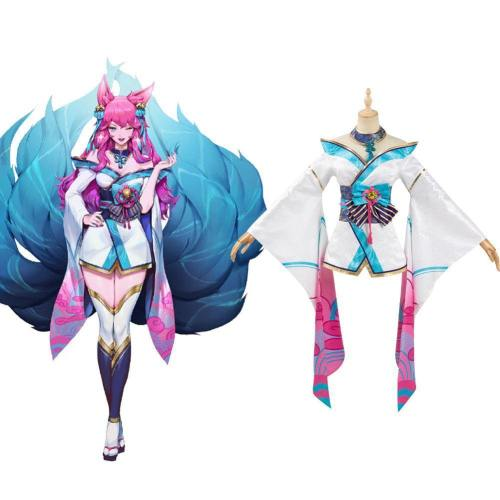 League of Legends LOL Ahri Spirit Blossom Ahri Cosplay Kostüm Kimono Kleid Outfits Halloween Karneval Kostüm