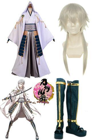 Touken Ranbu Tsurumaru Kuninaga Cosplay Kostüm + Perück + Stiefel