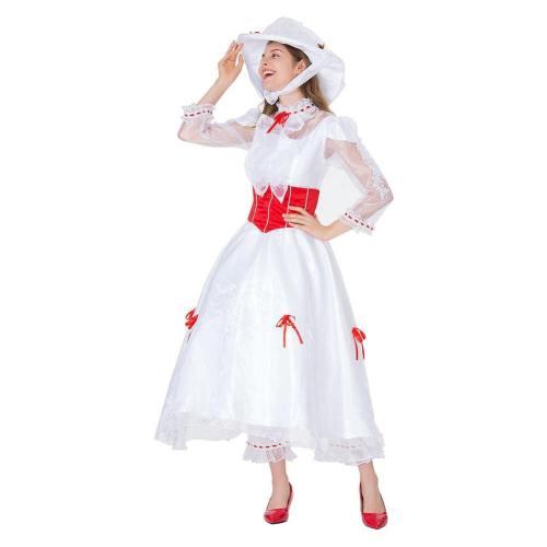 Mary Poppins 1964 Cospaly Kostüm Halloween Damen weiß Kleid