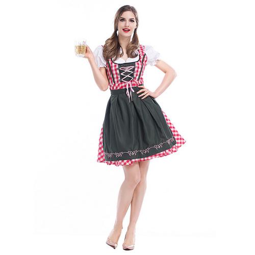 Damen Dirndl Trachtenkleid mit Schürze für Oktoberfest Karneval Kostüm
