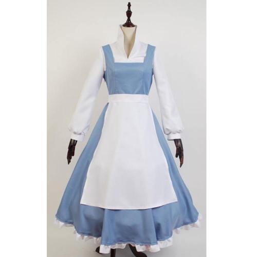 Die Schöne und das Biest Belle Kleid Dienstmädchen Schurz Kleid Cosplay Kostüm