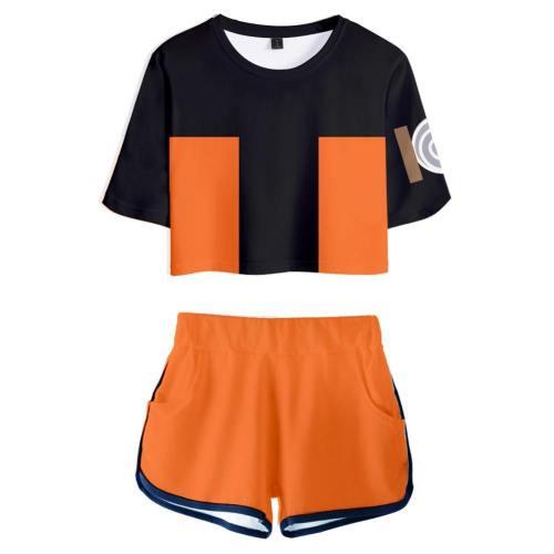 Naruto Uzumaki webliche T-Shirt Shots Set Sommer T-Shirts Damen Oberteil Kurzarm Version B