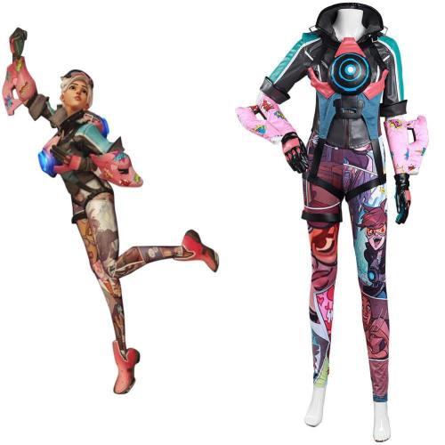 Overwatch OW Tracer Cosplay Kostüm Jumpsuit Halloween Karneval Kostüm