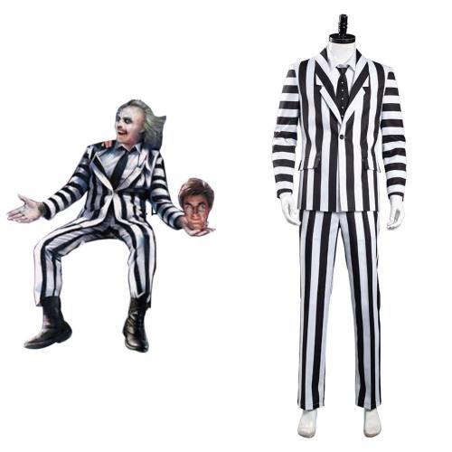 Beetlejuice Adam Maitland Cosplay Kostüm Herren Streifenanzug Outfits Halloween Karneval Kostüm